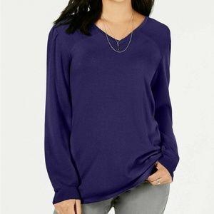 Style&Co XL Purple Pleated Slv Tunic Sweater 4Z35